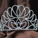 Floral Tiara Handmade Clear Crystal Crown Austrian Rhinestone Pageant Prom Crowns