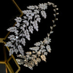 Cubic Zirconia Leaf Tiara Wedding Headband
