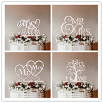 DIY Mr & Mrs Wooden Cake Toppers Hollow Letters Cake Top Ornaments Home Party Decoration