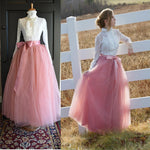6 Layers 40 Inch Long Tulle Skirts Floor-Length Pleated Skirt Fashion Wedding Bridal Bridesmaid Skirt Faldas Jupe Saias