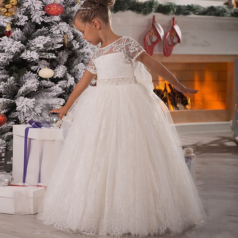 White Ivory Flower Girl Dress Pageant Birthday Formal Party Lace Ball Gown - TulleLux Bridal Crowns &  Accessories