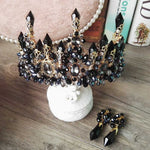 Blue Baroque Royal Crown Headpiece Retro Green Rhinestone Tiara Hairbands