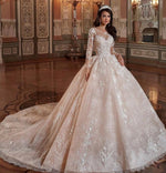 Lace Sleeve Applique Full Ball Gown with Chapel Train