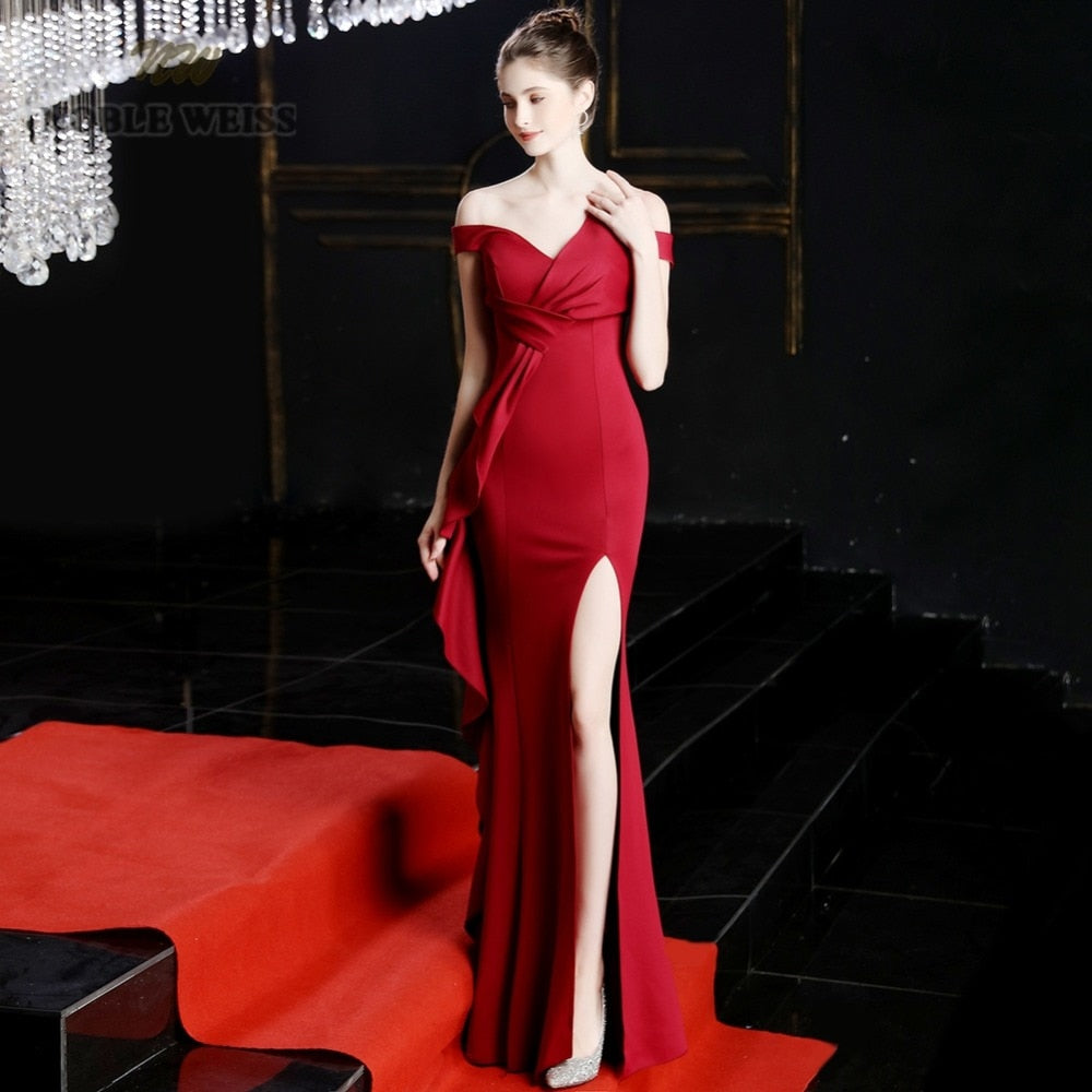 Sexy Split Elastic Long Prom Dress in 5 Colors