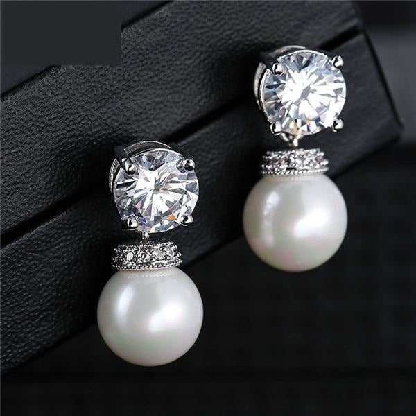 Fashion Round Simulated Pearl & Zirconia Long Drop Earrings Bridal Wedding Jewelry