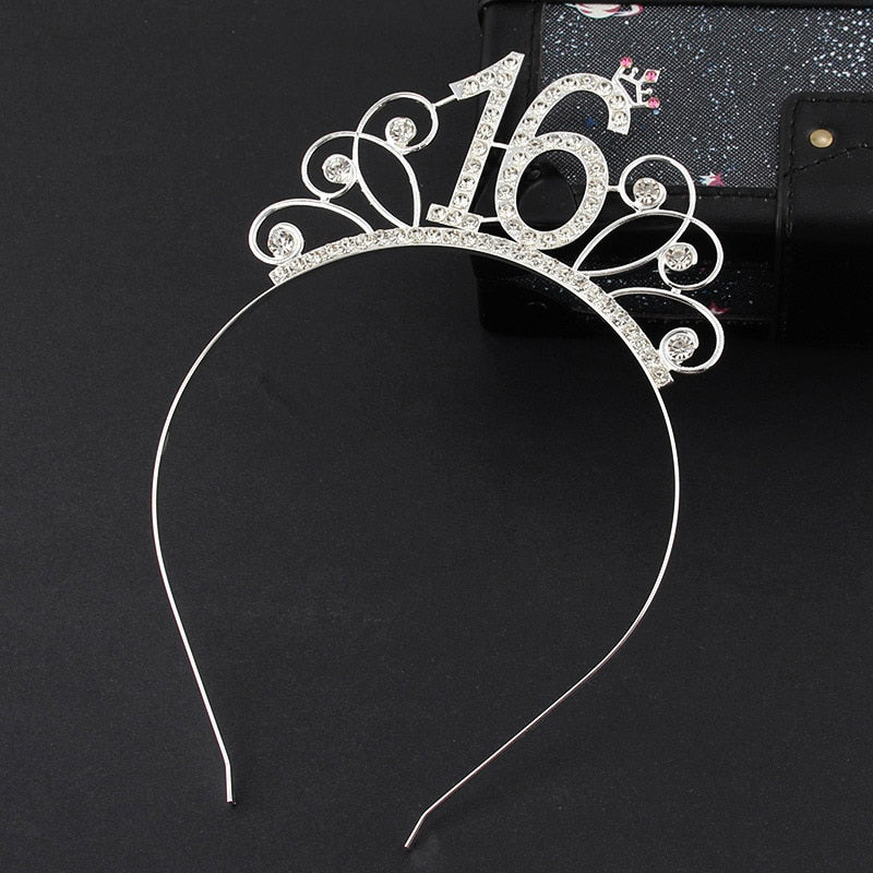 Sweet 16 Birthday Crown Rhinestone Tiara Headband Girl Hair Accessories 16th Birthday Party Hat Decoration Favor Gift