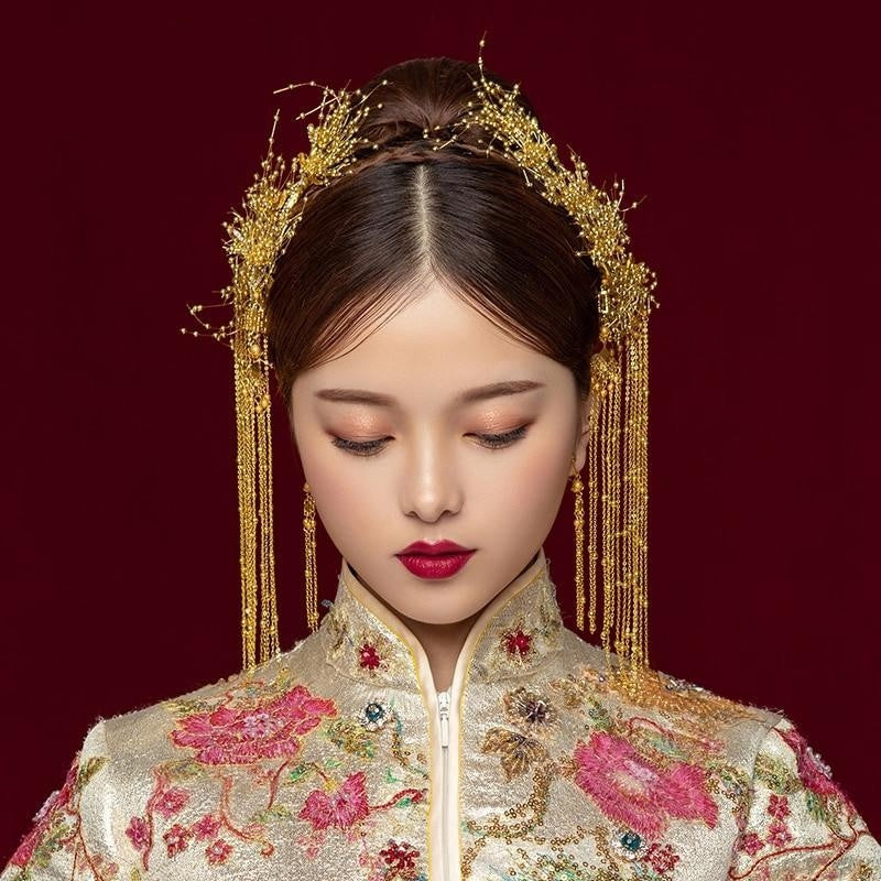 Traditional Chinese Bridal Headdress Costume Gold Beads Pearls Wedding Hair Accessories