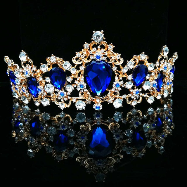 Baroque  Red Blue Green Crystal Bridal Tiaras Crown Vintage Gold Hair Accessory Wedding Rhinestone Diadem Pageant Crowns