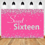 Vinyl Sweet Sixteen Birthday Backdrop Diamond Deep Pink Photography Backdrop 16th Birthday Photo Prop
