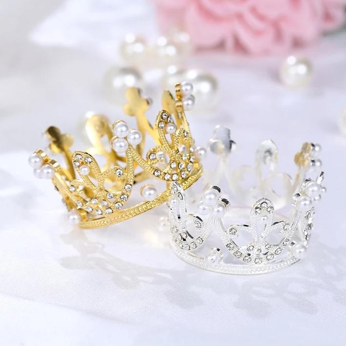 Shining Mini Crown Happy Birthday  Wedding & Engagement Cake Topper Decorations