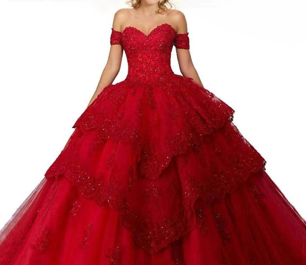 Red Quinceanera Sweet 16 Dresses in 9 Colors Detachable Sleeves Tiered Skirt Beading Lace Edge