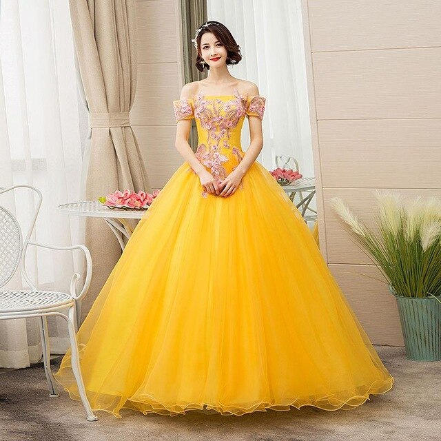 Golden Off The Shoulder Lace Vestidos 15 Anos  Prom Quinceanera Gown  +Plus Sizes Available