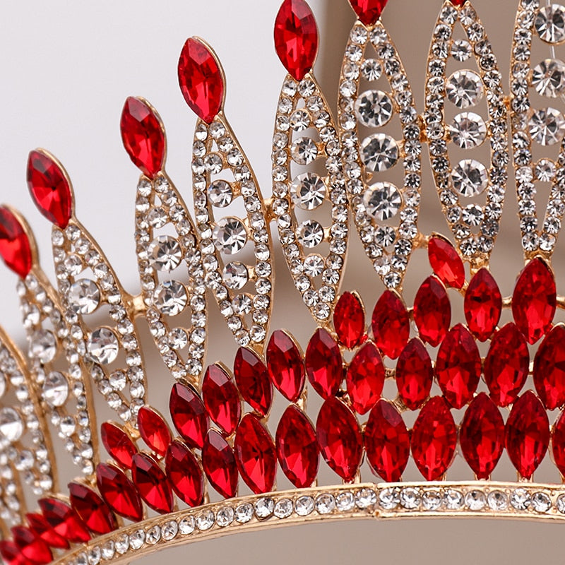 Trendy Silver or Red Rhinestone Crystal Tall Crown Bridal Wedding Tiara  Beauty Pageant - TulleLux Bridal Crowns &  Accessories