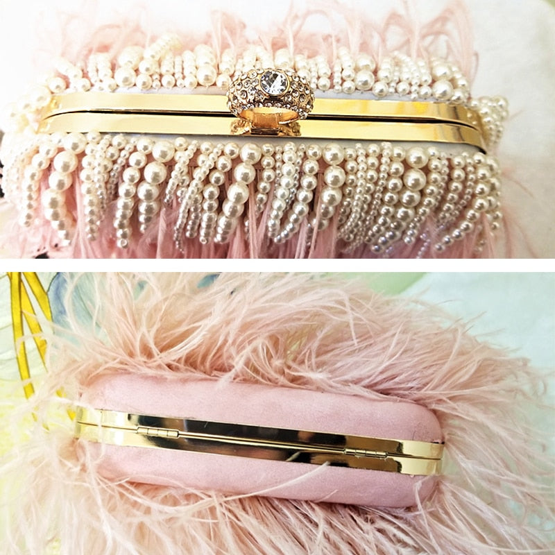 Ladies Pink Handbag Pearl Clutch Luxury Design