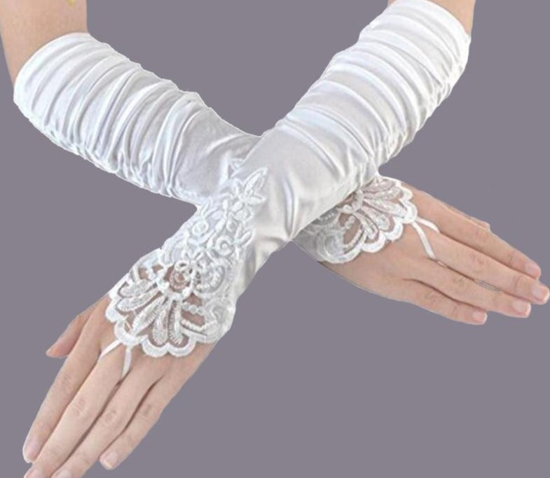 Fingerless Satin Elbow Wedding Bridal Gloves Beaded Lace Wedding Accessory