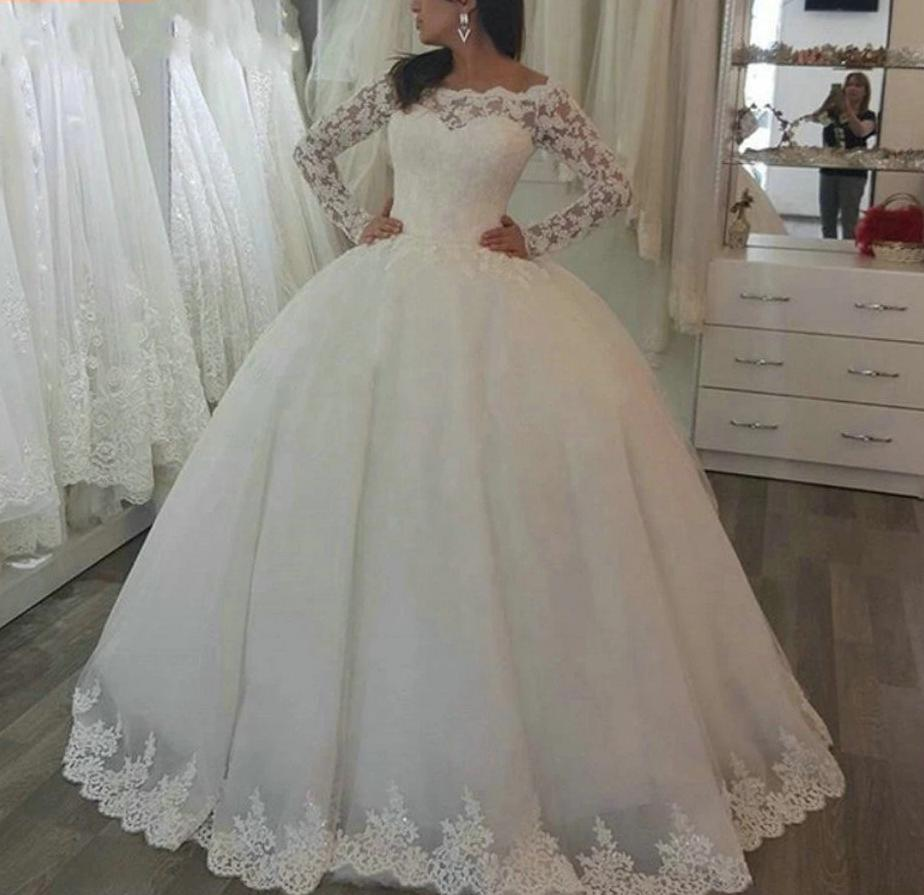 Gorgeous Princess Lace Applique Long Sleeve Wedding Dress, Plus Sizes Available