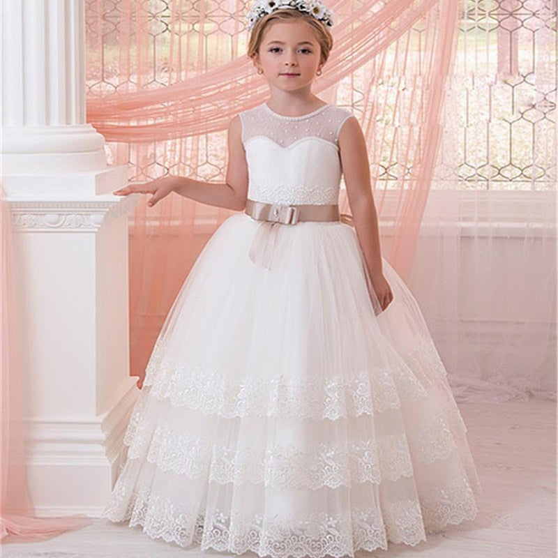 Sleeveless Ball Gown Lace Appliques Tulle Flower Girl Dress with Sash