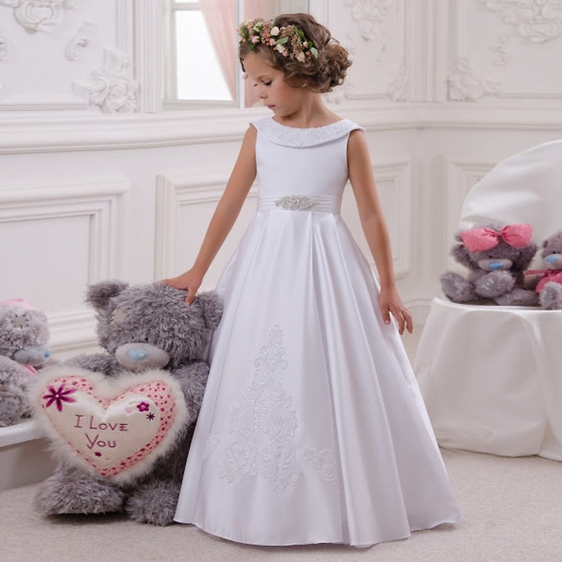 A-Line Flower Girl or First Communion Dress With Bow Sash Sleeveless Solid O-Neck