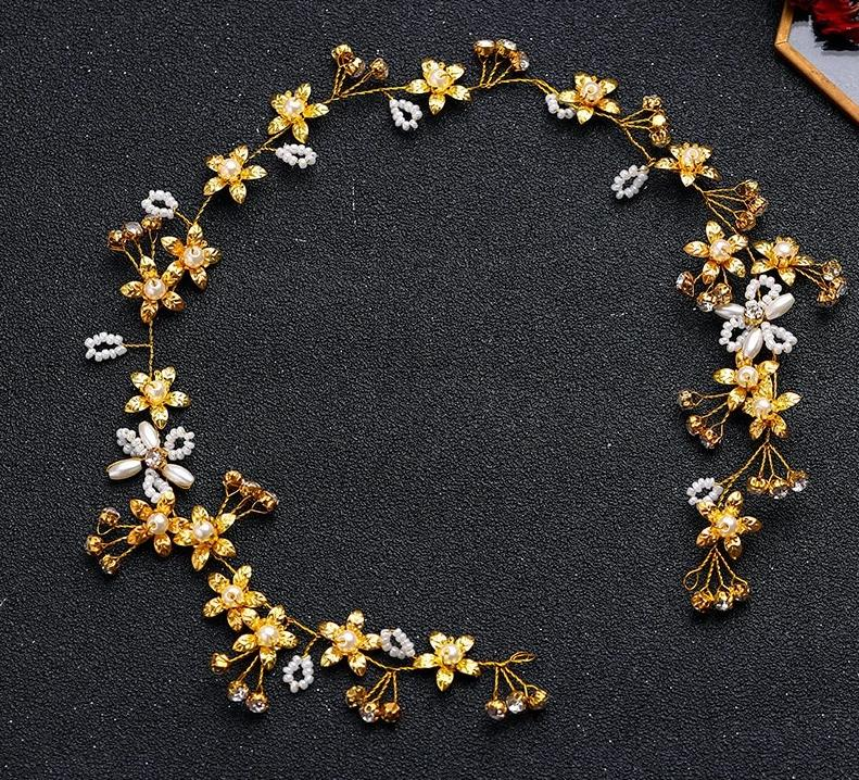 Gold Flower Pearl Rhinestone Leaf Headband Wedding Hair Accessory