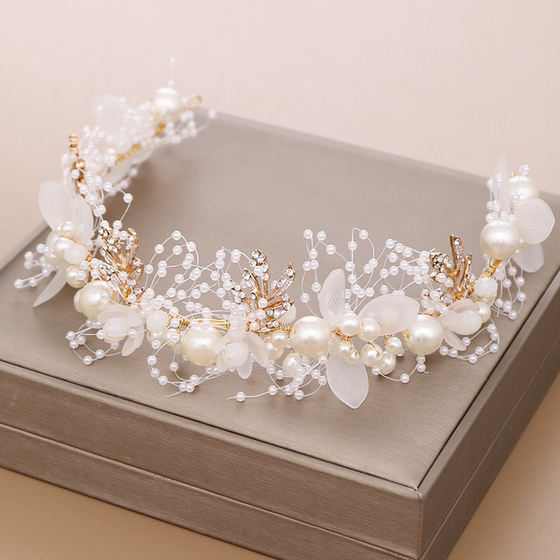 Gold Flower Pearl Headband Tiara Wedding Bridal Princess Headband Bridal Accessories