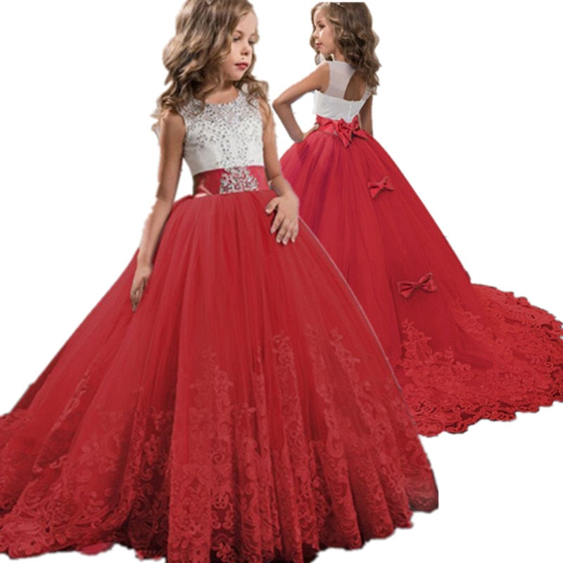 Lace Embroidery Christmas Birthday Party Flower Girl Gown