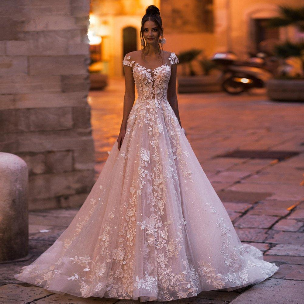 Lace Cap Sleeve A Line Bridal Wedding Ball Gown with Court Train