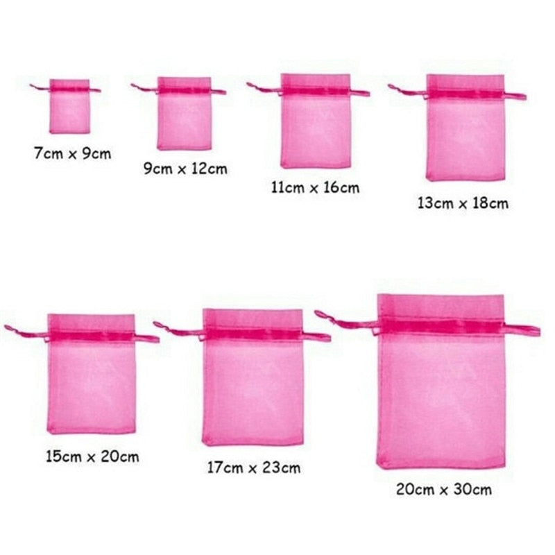 100PCS Drawstring Organza Bags Jewelry Packaging Bags Scented Sachet Gift Pouches 7Z
