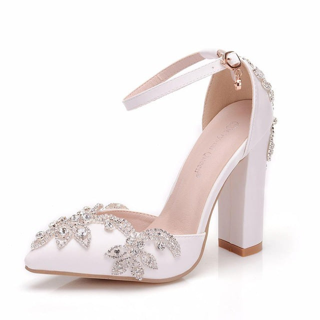 Crystal Queen White  Rhinestone Sandals Pointed Shoes Platform Wedges Shoes Wedding heels High Heels