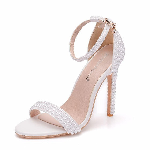 Crystal Queen Bride Wedding Shoes Fashion  Ankle Strap Party Dress Shoes Open Toe High Heels Pumps