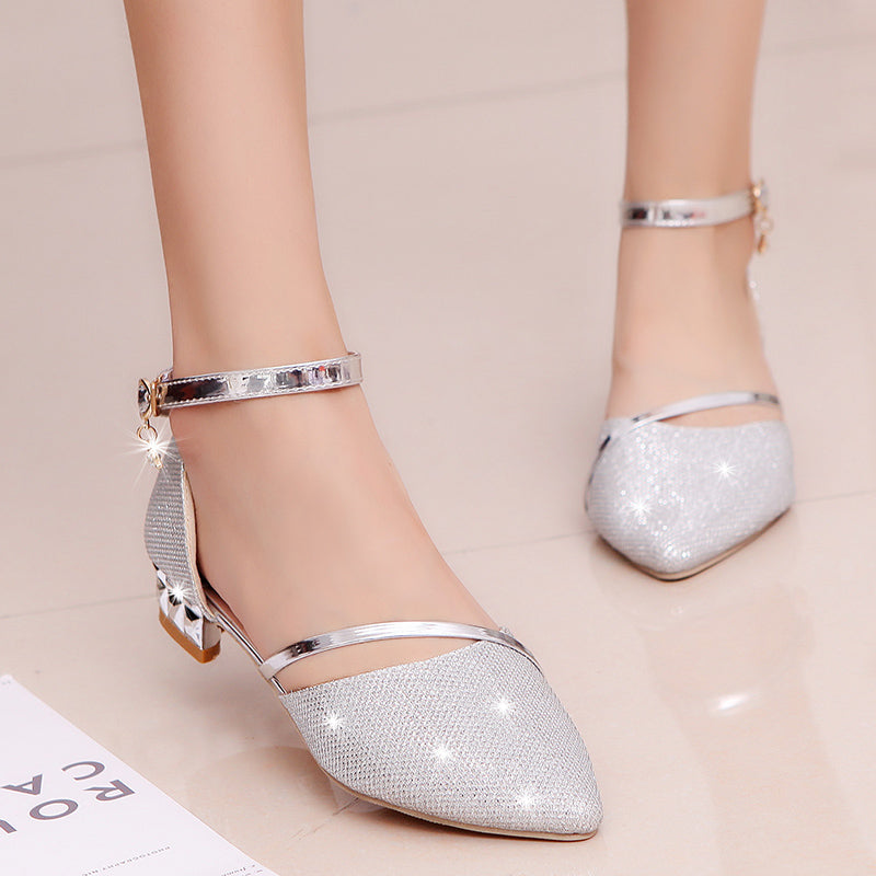 Summer Heel High Sandals Lady Pumps Classics Slip On Shoes Gold Silver Wedding Slingbacks