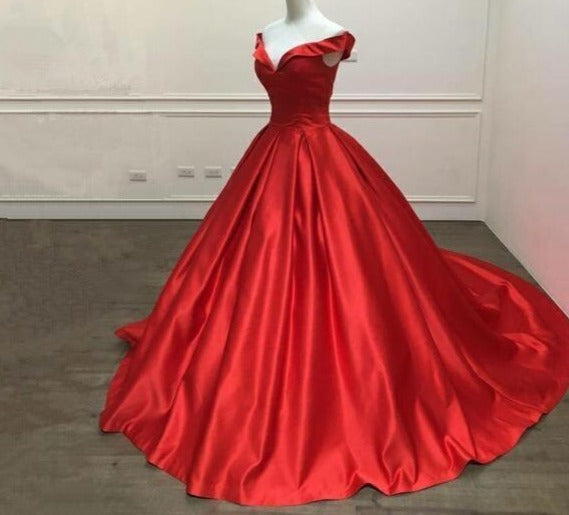 Elegant Simple Satin Red Prom Dress V Neck Ball Gowns Cap Sleeve