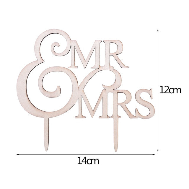 DIY Mr & Mrs Wooden Cake Toppers Hollow Letters Cake Top Ornaments Home Party Decoration - TulleLux Bridal Crowns &  Accessories