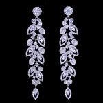 Cubic Zirconia Luxury  Bridal Jewelry Pave Long Dangle Wedding Earrings
