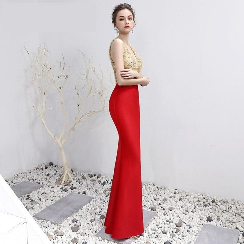 V-Neck  Floor-Length  Trumpet / Mermaid  Red Gold Prom Pageant Dress - TulleLux Bridal Crowns &  Accessories
