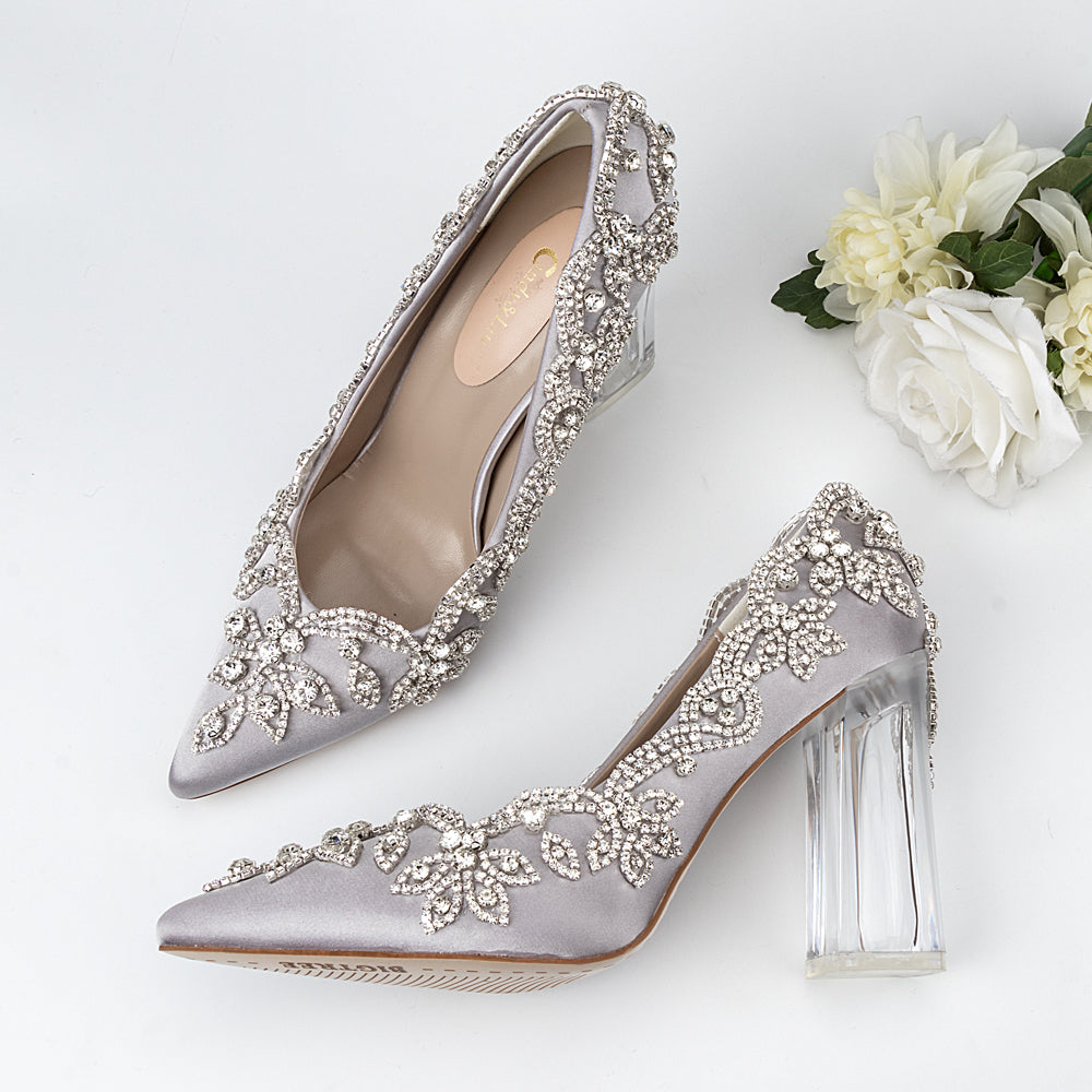 Wedding Shoes Luxury Design  Satin Full Stone Rhinestone Pointed Toe Bride Pumps Square Clear Higher Heels