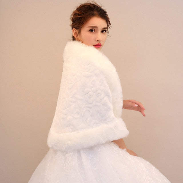 Faux Fur Bridal Shawl Wrap Shrug Winter Wedding