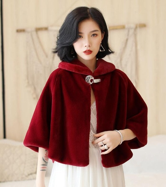 Wine Red Formal Evening  Wraps Faux Fur Wedding Winter