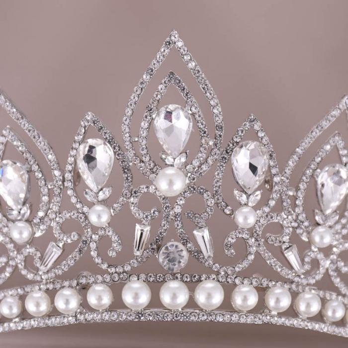 Baroque  Crystal Crown Princess Birthday Party Imitation Pearl Tiaras Bridal Wedding Accessory