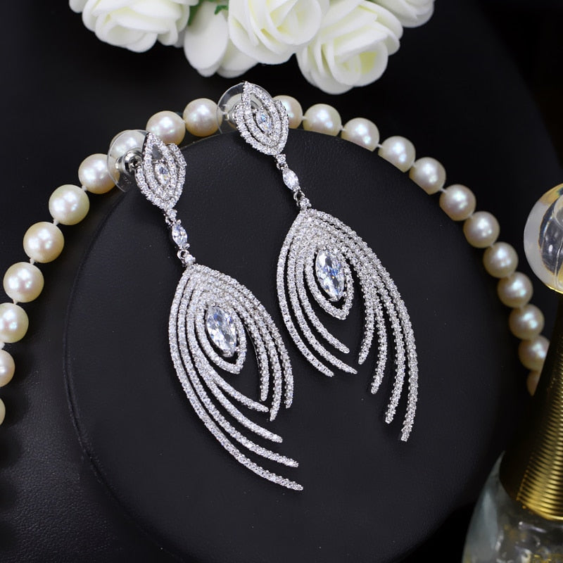 Dangle Drop Micro Pave Cubic Zirconia Long Luxury  Earrings - TulleLux Bridal Crowns &  Accessories