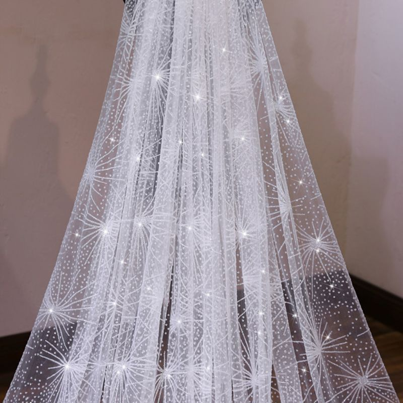 One-Layer White Trailing Long Wedding Veil Star Spray Glitter Rhinestone Cut Trim Starry Sky Bridal Veil