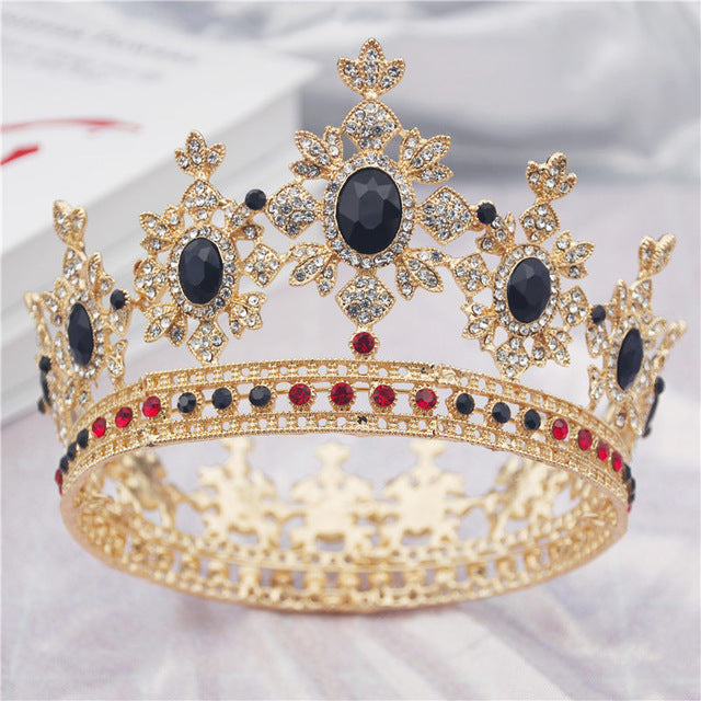 Crystal Round Diadem Wedding Crown Gold Tiaras Bridal Hair Pageant