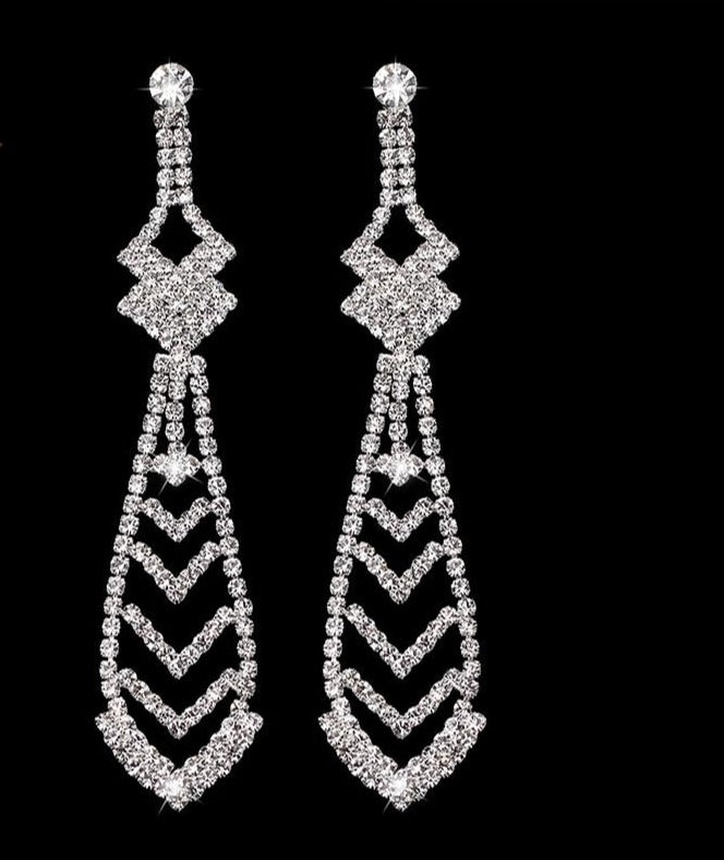 Fashion Necktie Shape Long Drop Earrings of Rhinestone Crystal - TulleLux Bridal Crowns &  Accessories