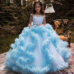 Cloud Feathers Flower Girl Dress For Weddings  Pageant Princess Ball Gown