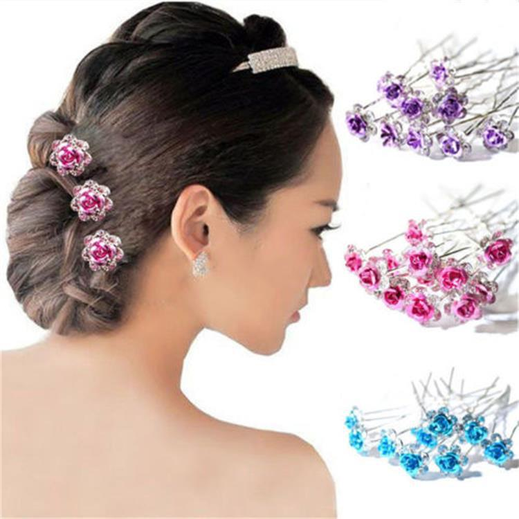 10PCS  Bridal U-Shaped Pin Pearl-Encrusted Zircon Flower Hairpin Wedding Accessory