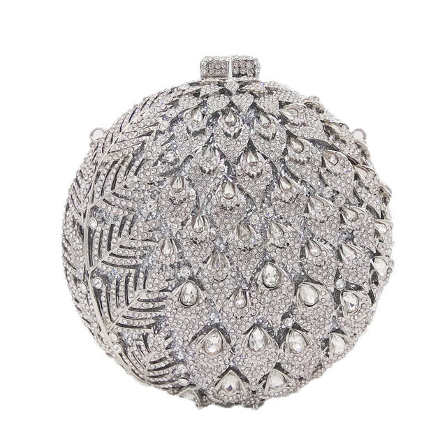 Dazzling Women's Hollow Flower Buds Circle Round Gold Crystal Evening Clutch Bags