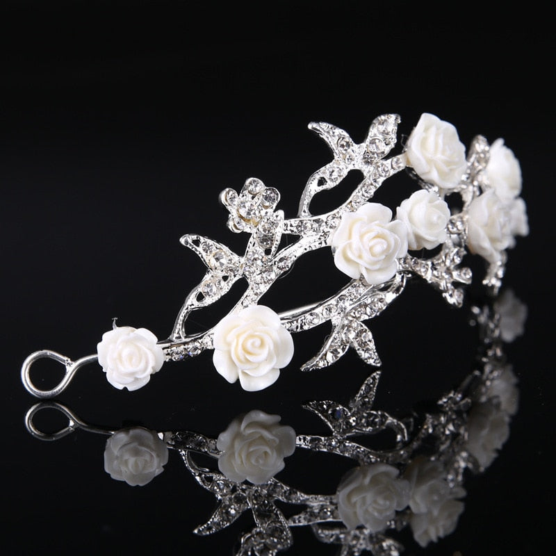 Bridal Crystal Floral Wedding Day Headband Hair Accessory