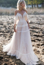 Bohemian Wedding Dresses Off Shoulder A Line Lace Boho Wedding  Bridal Gowns