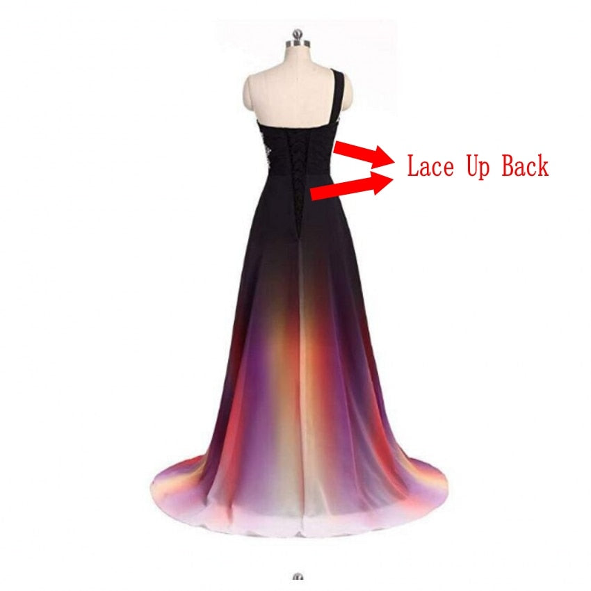 Sexy Criss-Cross Back One Shoulder Chiffon Long Prom Dresses in Red, Black, Blue, Multi