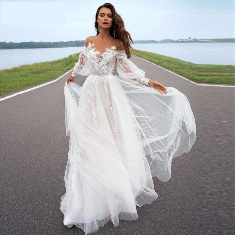 Off Shoulder Boho Beach Princess Wedding Bridal Gowns Plus Sizes