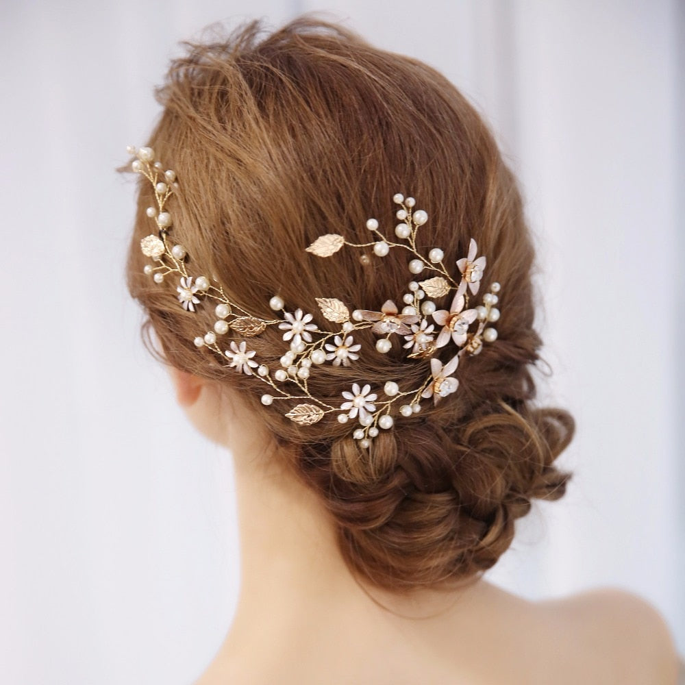 Gold Flower Crystal Pearl Bridal Headband Hair Vine Wedding Tiara